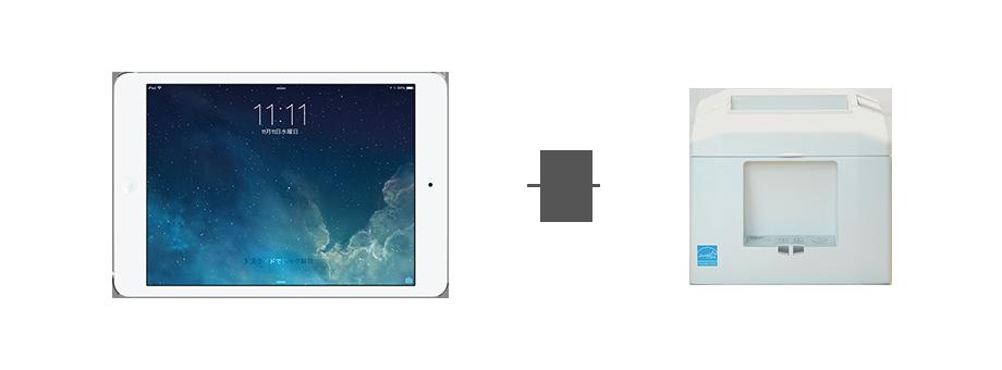 ipad・レシートプリンター お客様とスタッフがiPadを共用