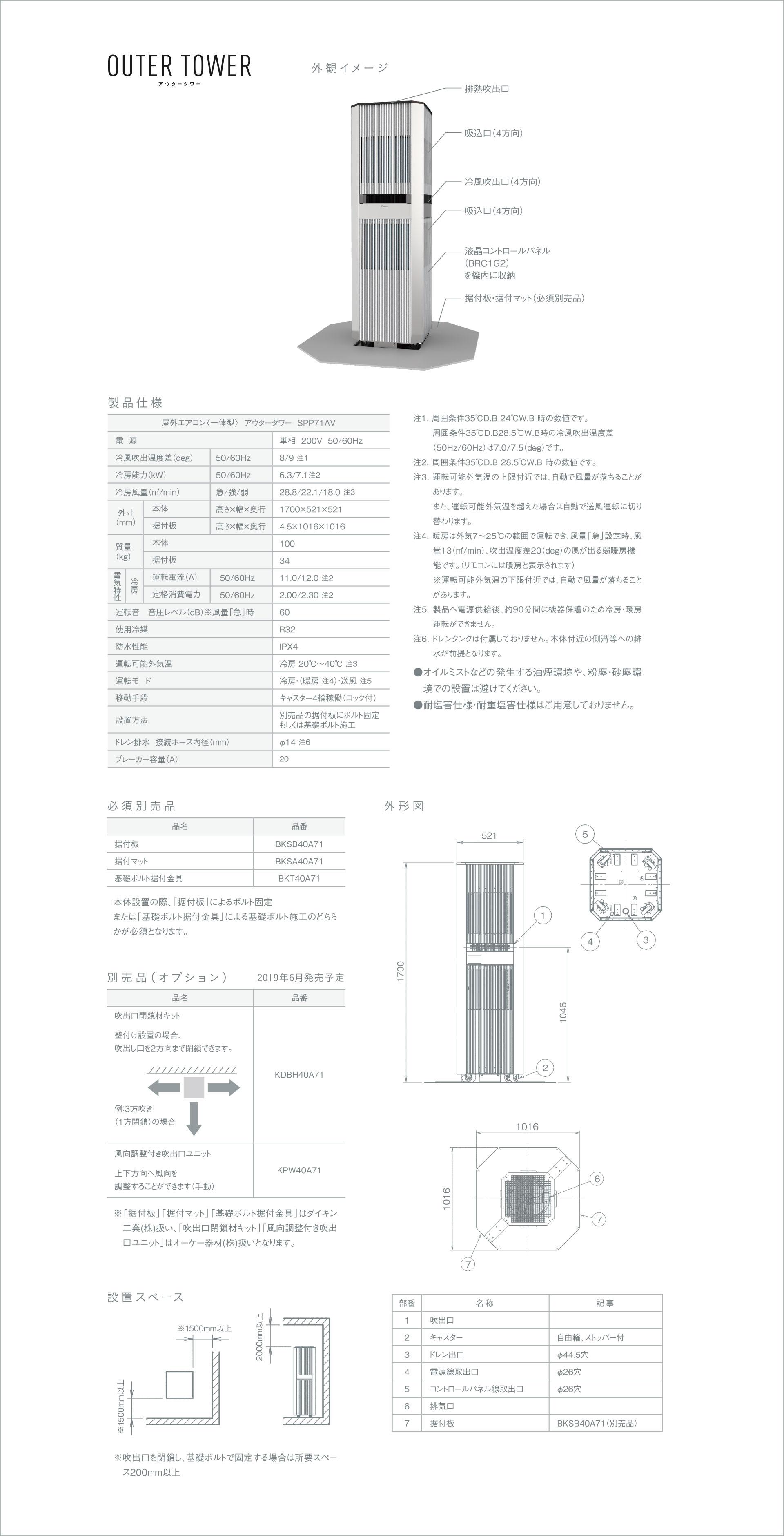 アウタータワー 外観イメージ 製品仕様 必須別売品 別売り品(オプション) 設置スペース 外形図